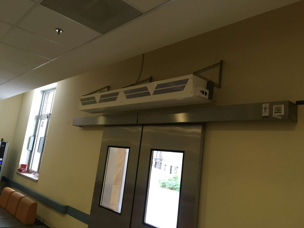 building with air curtain